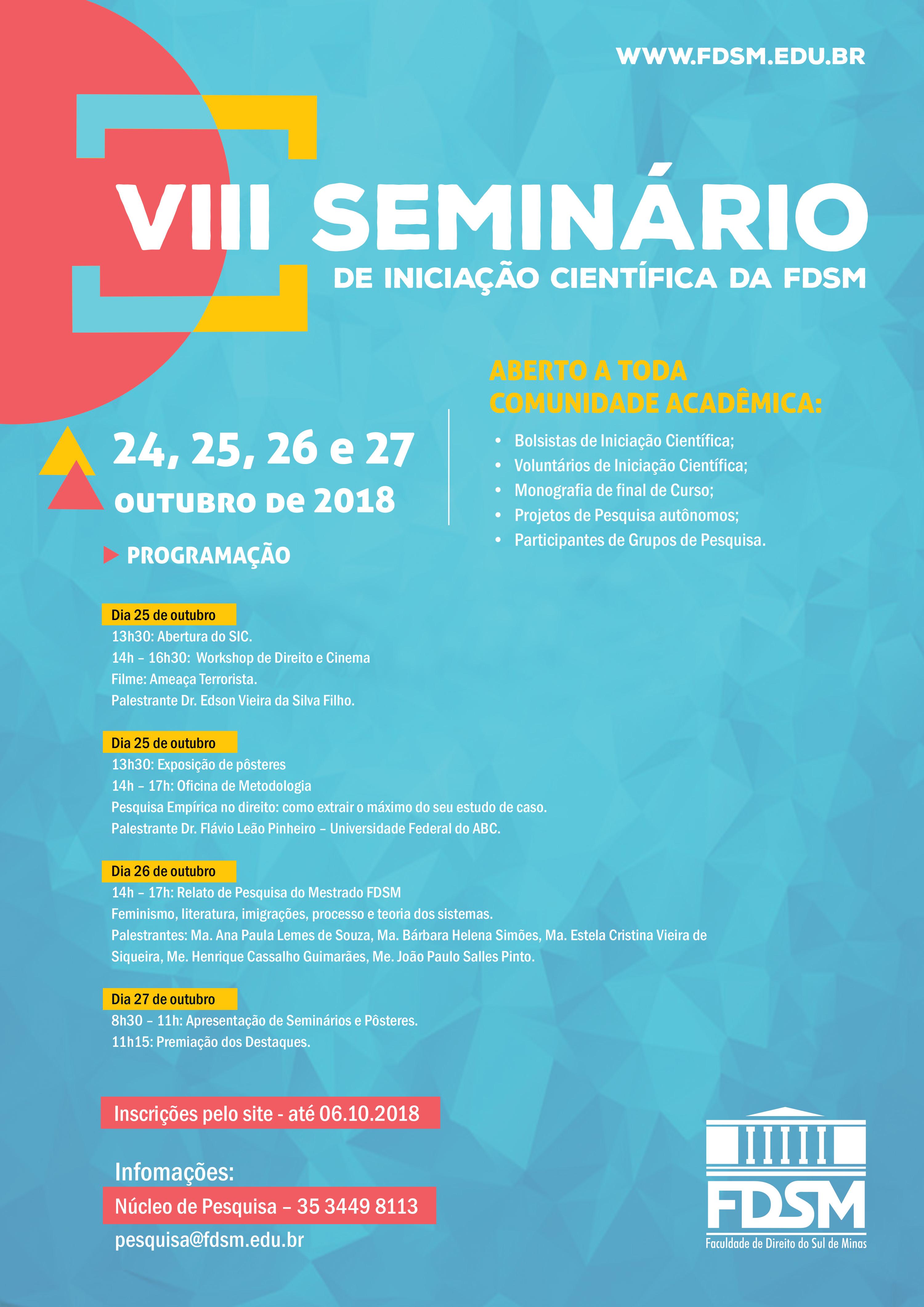 VIII Seminário de Iniciação Científica - Workshop de Direito e Cinema