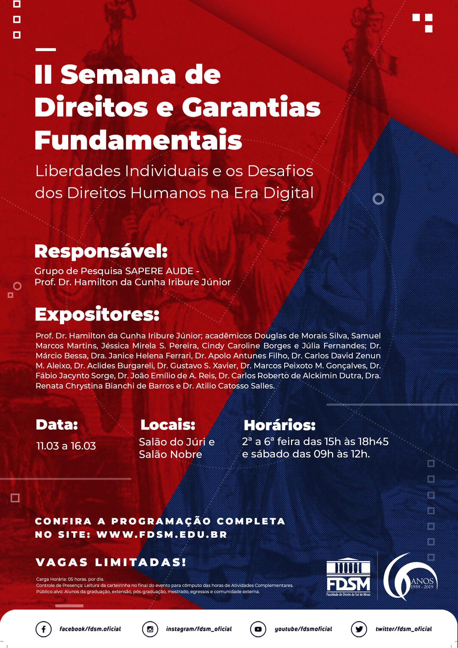 II Semana de Direitos e Garantias Fundamentais - Liberdades Individuais e os Desafios dos Direitos Humanos na Era Digital