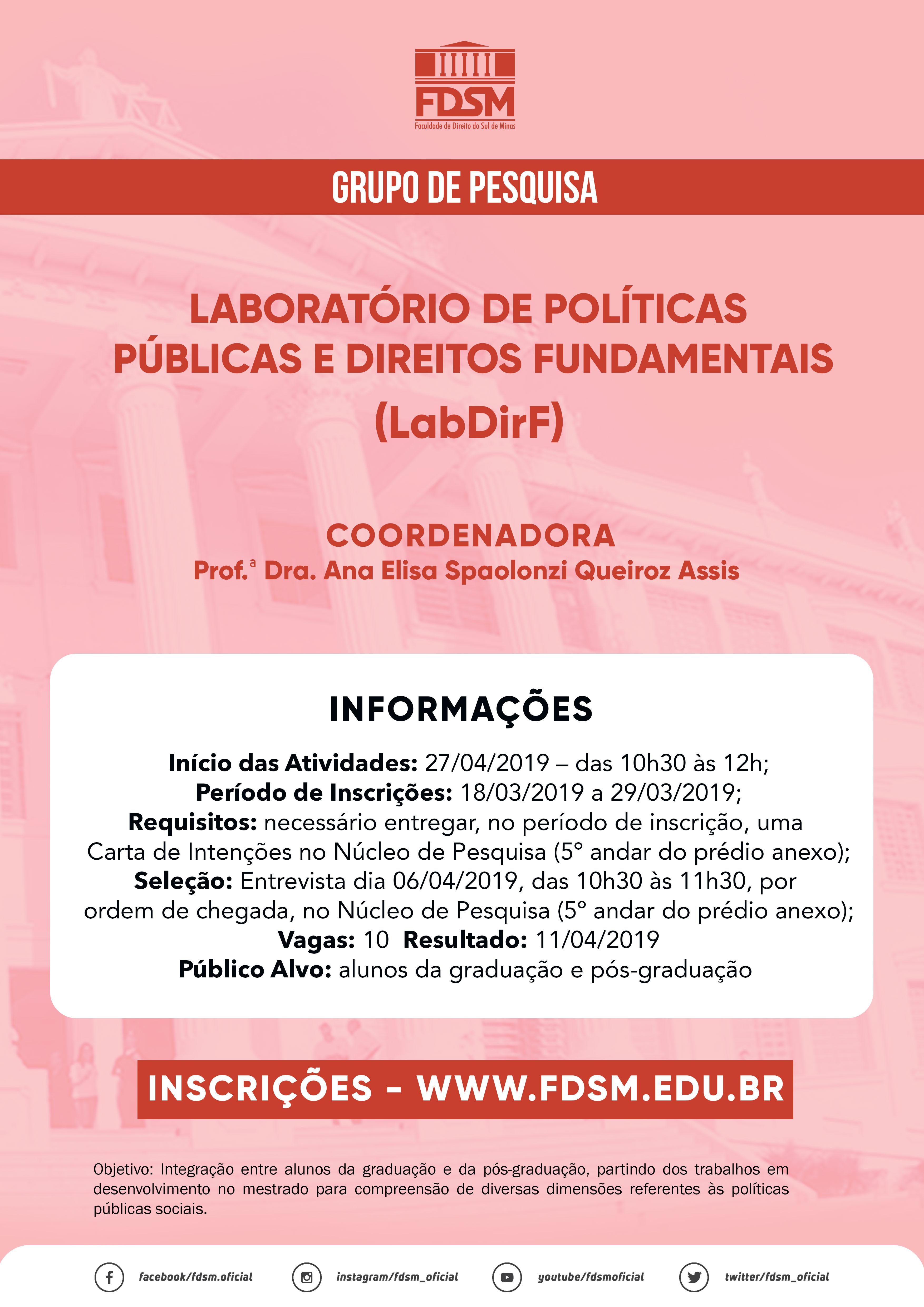 Grupo de Pesquisa: Laboratórios de Políticas Públicas e Direitos Fundamentais