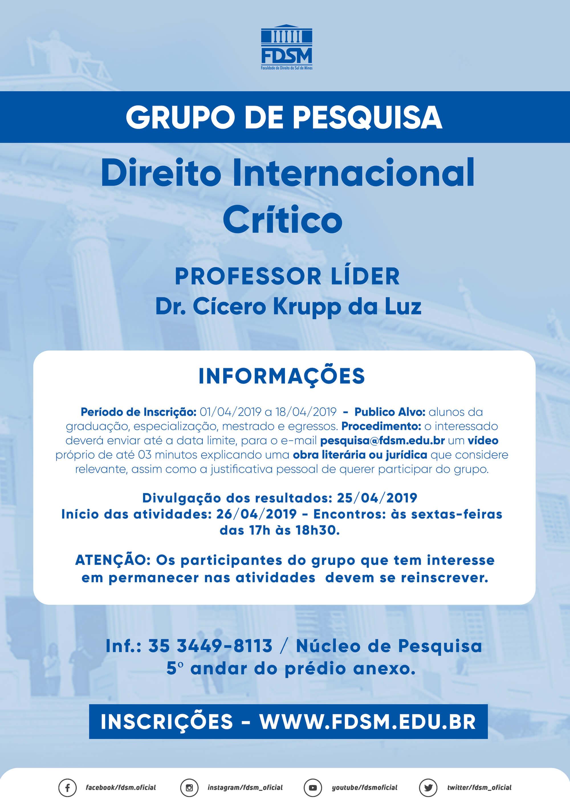 Cód 452: Grupo de Pesquisa: Direito Internacional Crítico