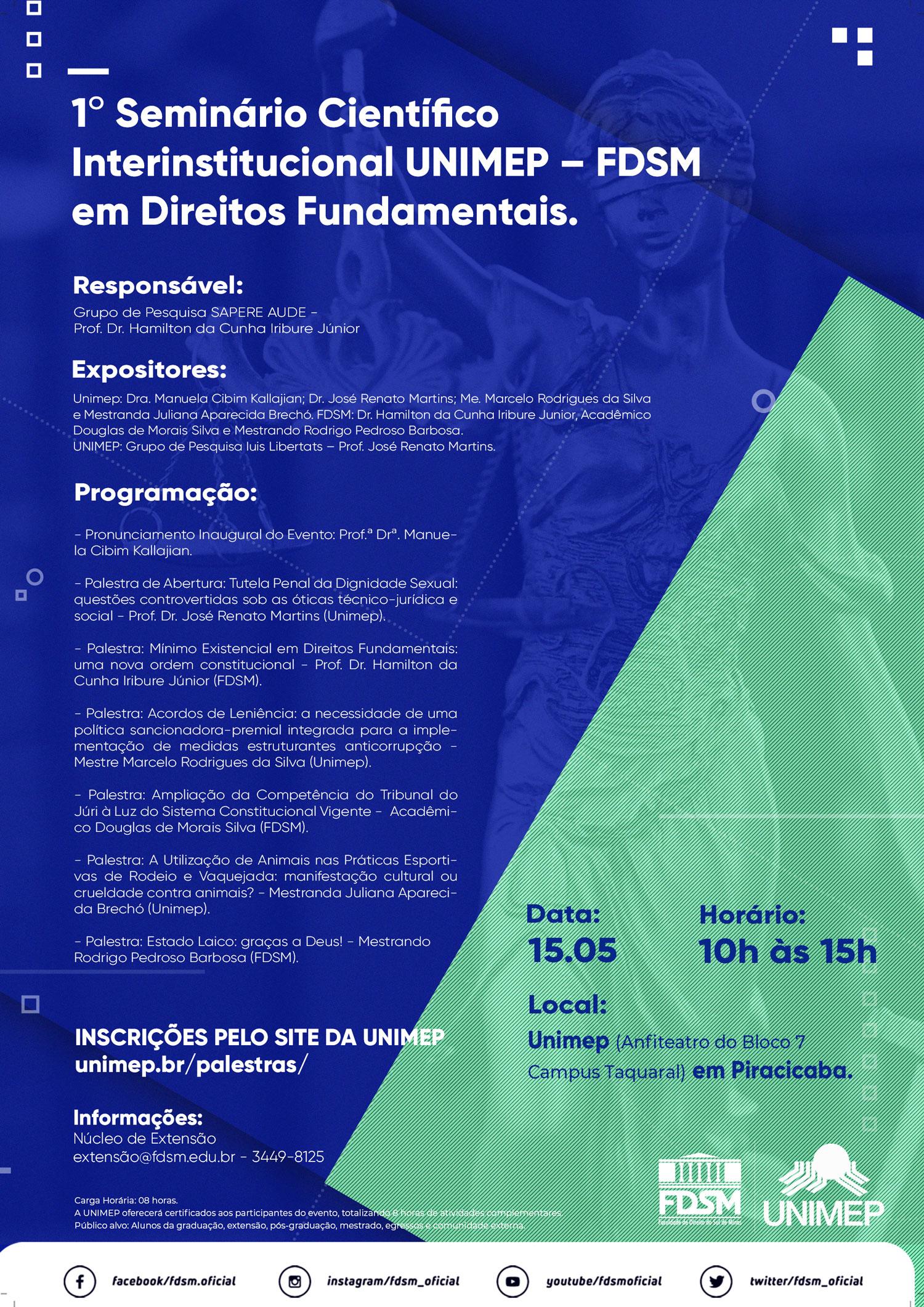 Cód 466:  1º Seminário Científico Interinstitucional UNIMEP - FDSM em...