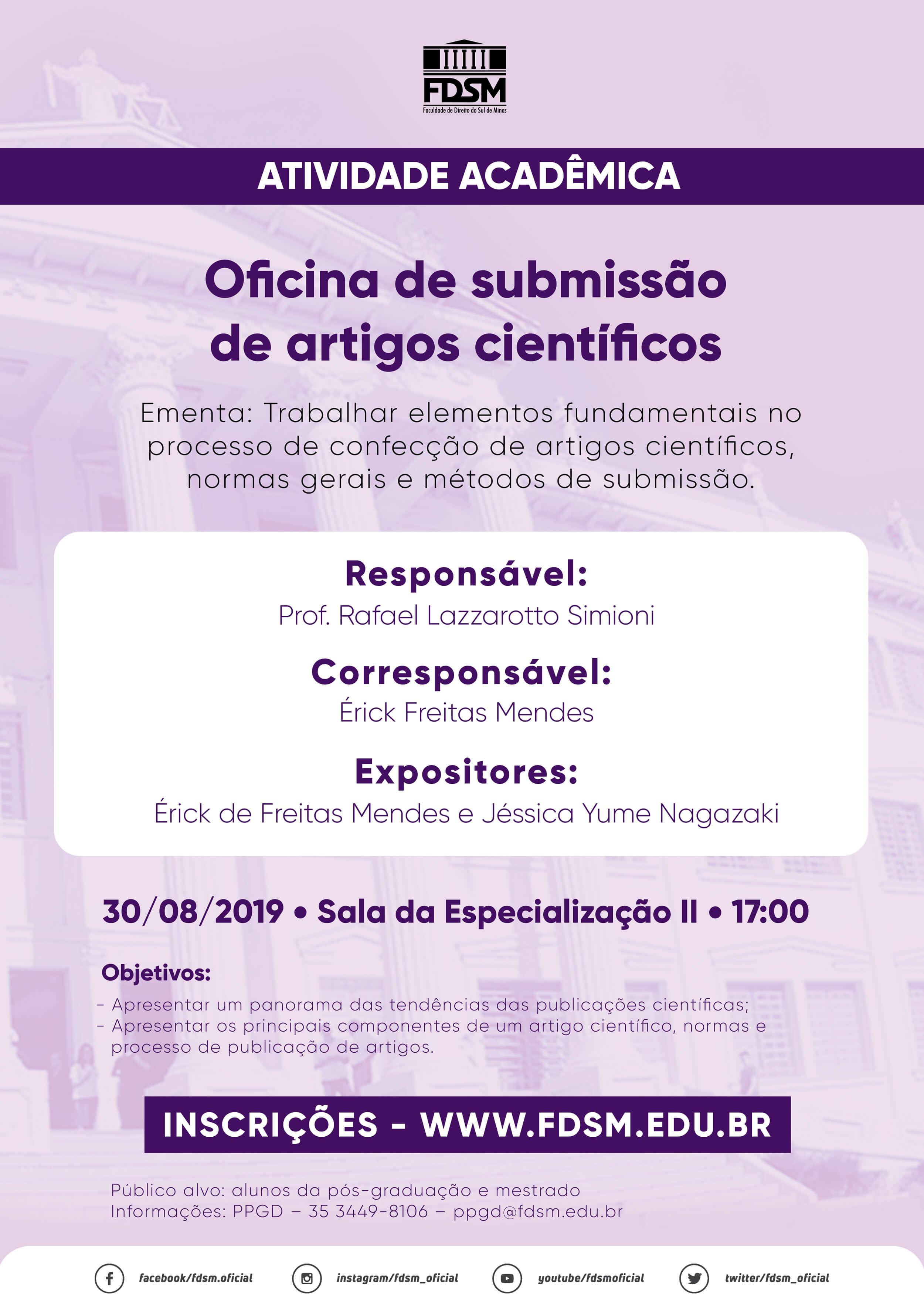 Cód 530: Oficina de submissão de artigos científicos
