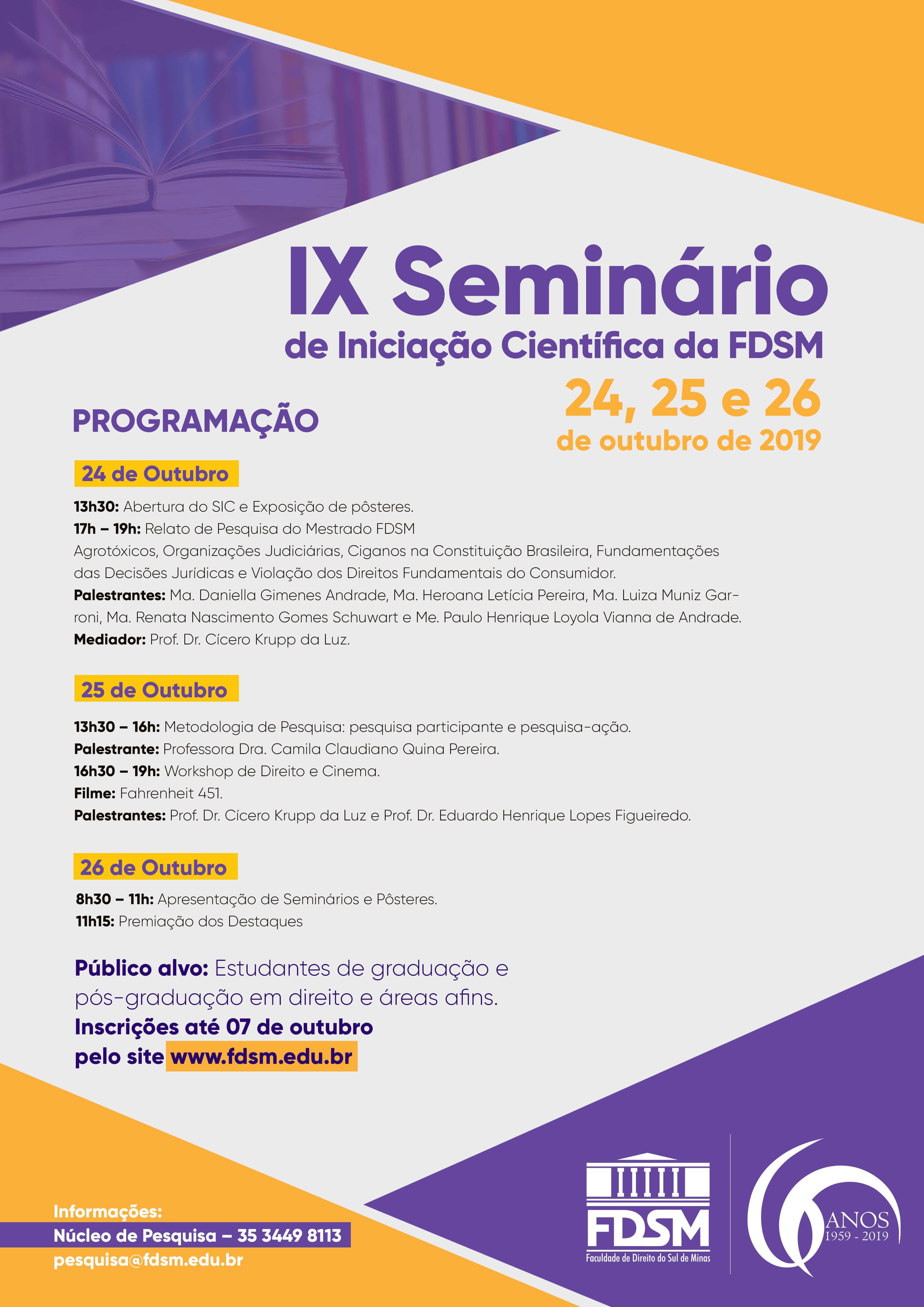 Evento 531 - DIA 24/10 - IX SEMINÁRIO DE INICIAÇÃO CIENTÍFICA DA FDSM