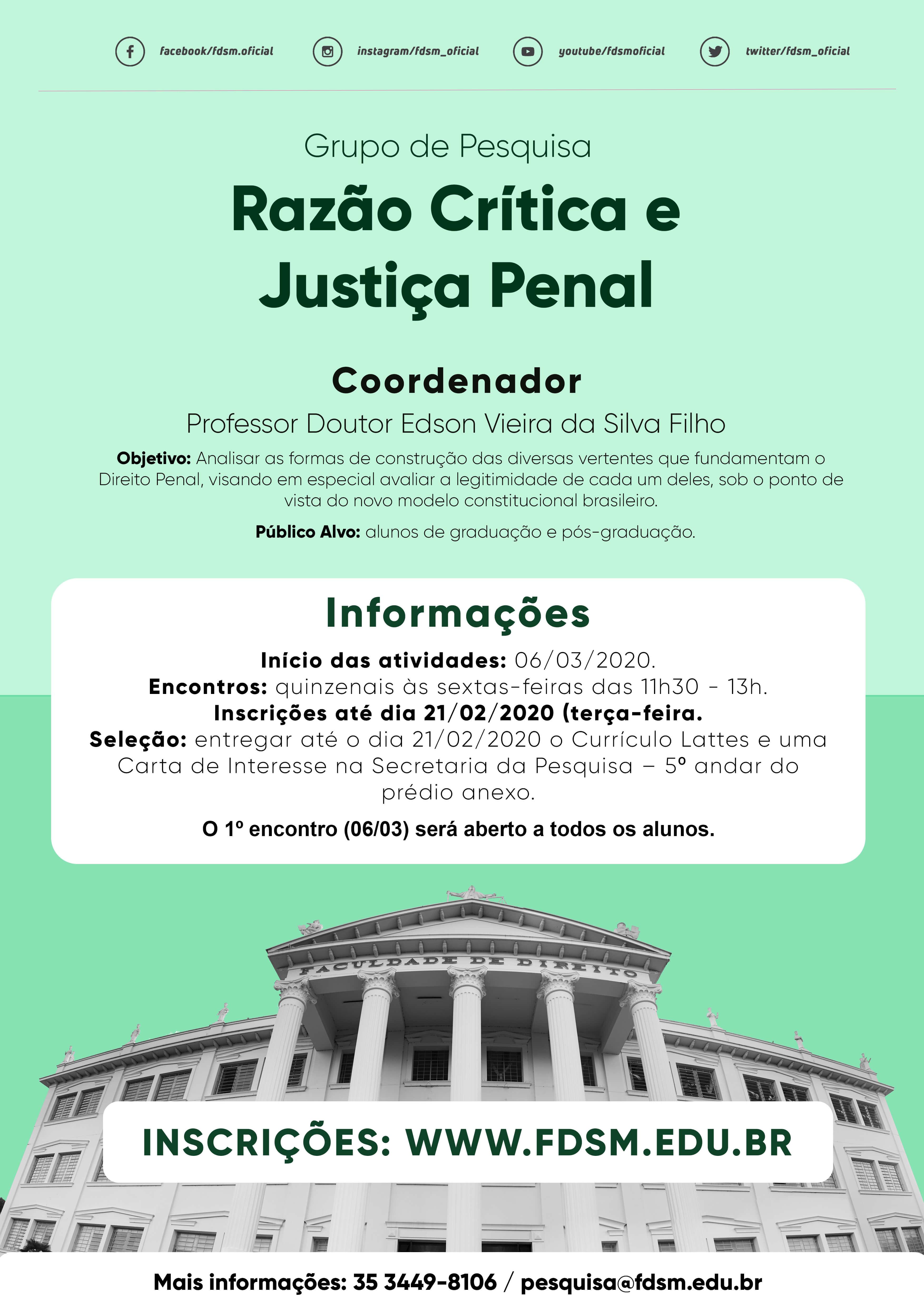 Grupo de Pesquisa: Razão Crítica e Justiça Penal