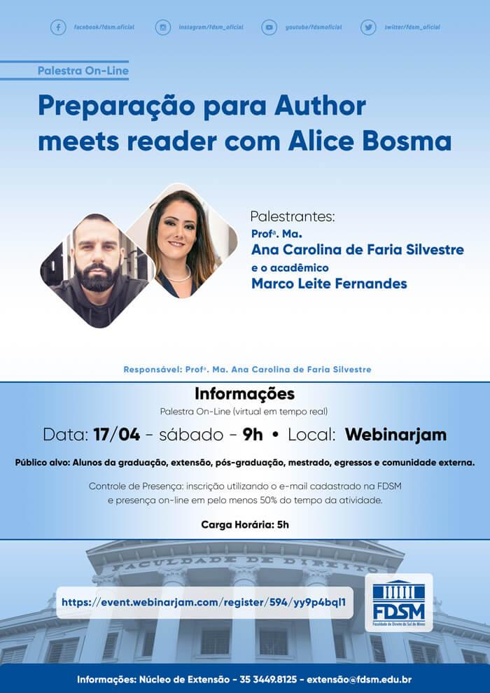 Evento 741 - PALESTRA 'PREPARAÇÃO PARA AUTHOR MEETS READER COM ALICE BOSMA'