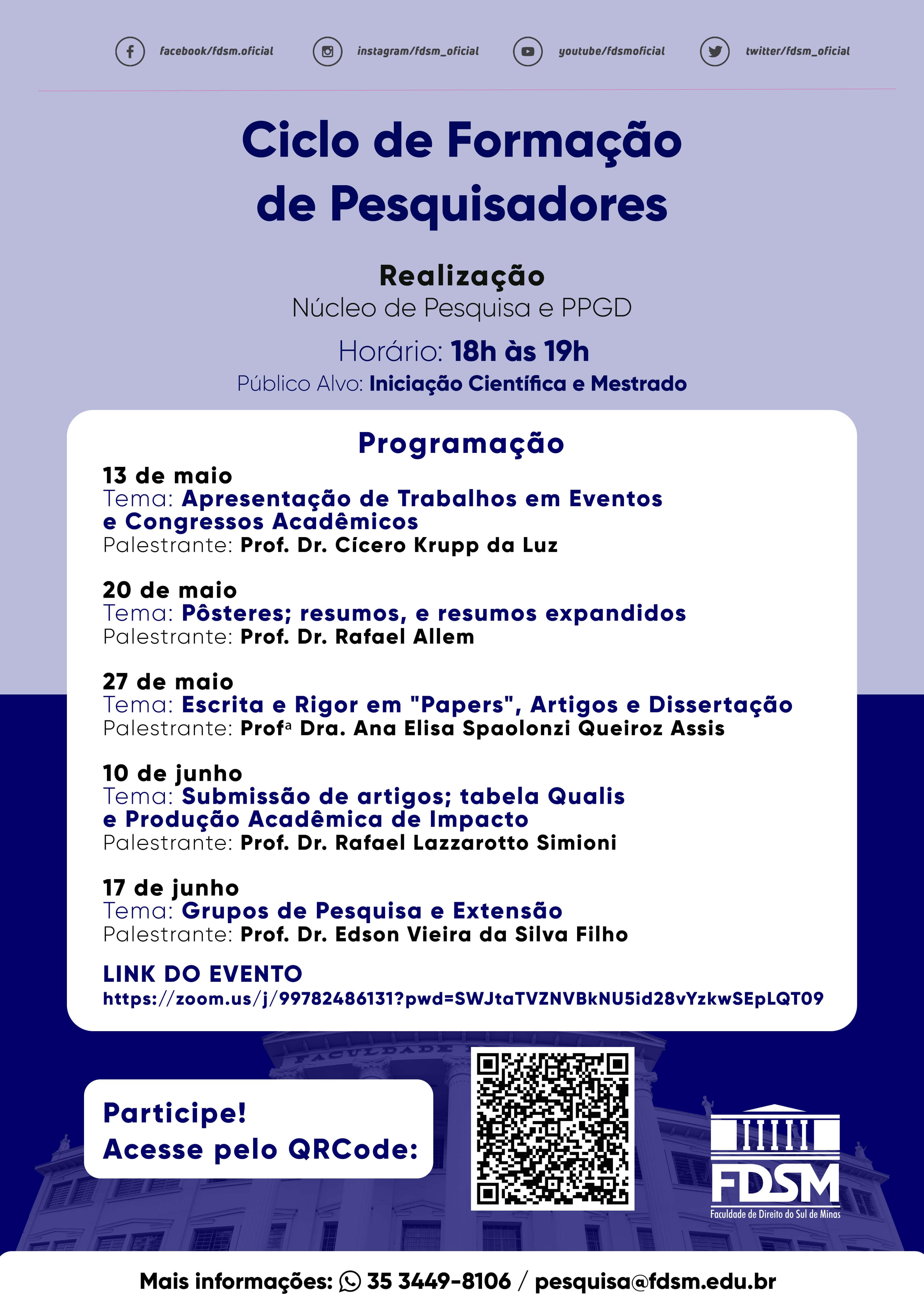 Evento 760 - CICLO DE FORMAÇÃO DE PESQUISADORES