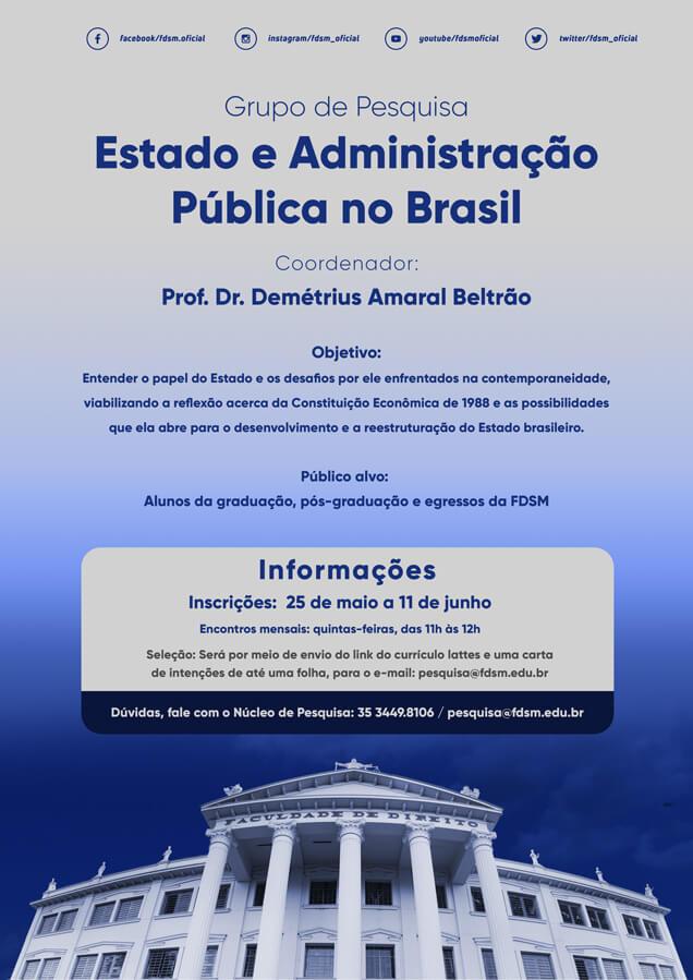 Evento 762 - GRUPO DE PESQUISA ESTADO E ADMINISTRAÇÃO PÚBLICA NO BRASIL