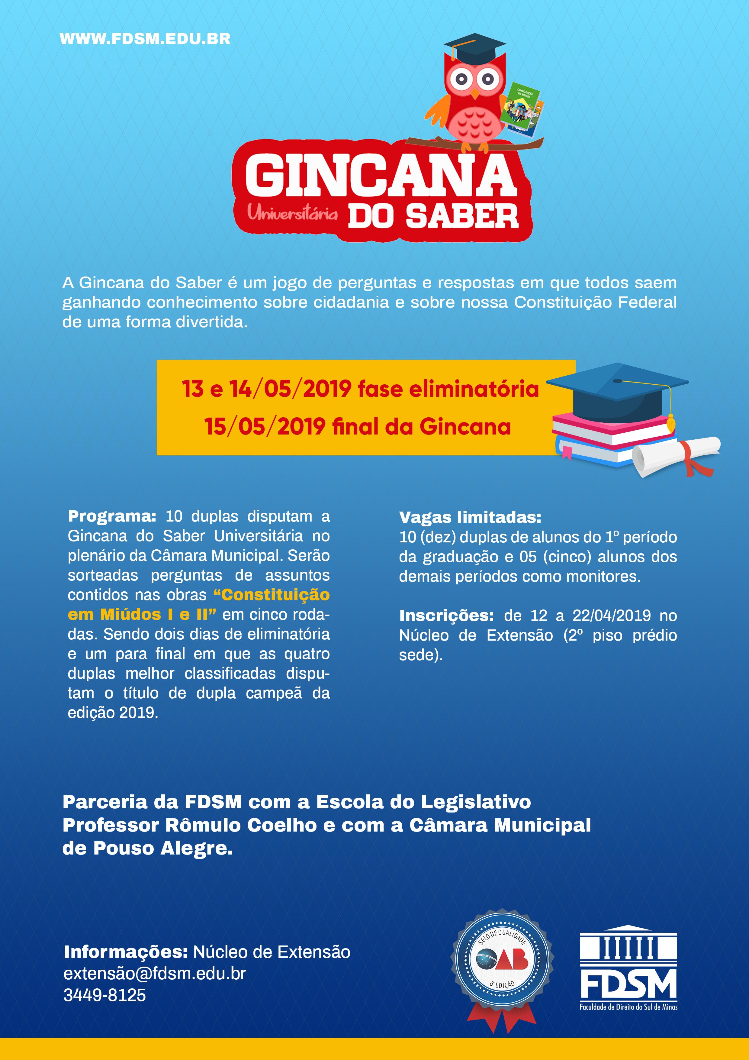 Comunicado 5434 - GINCANA DO SABER UNIVERSITÁRIA 2019