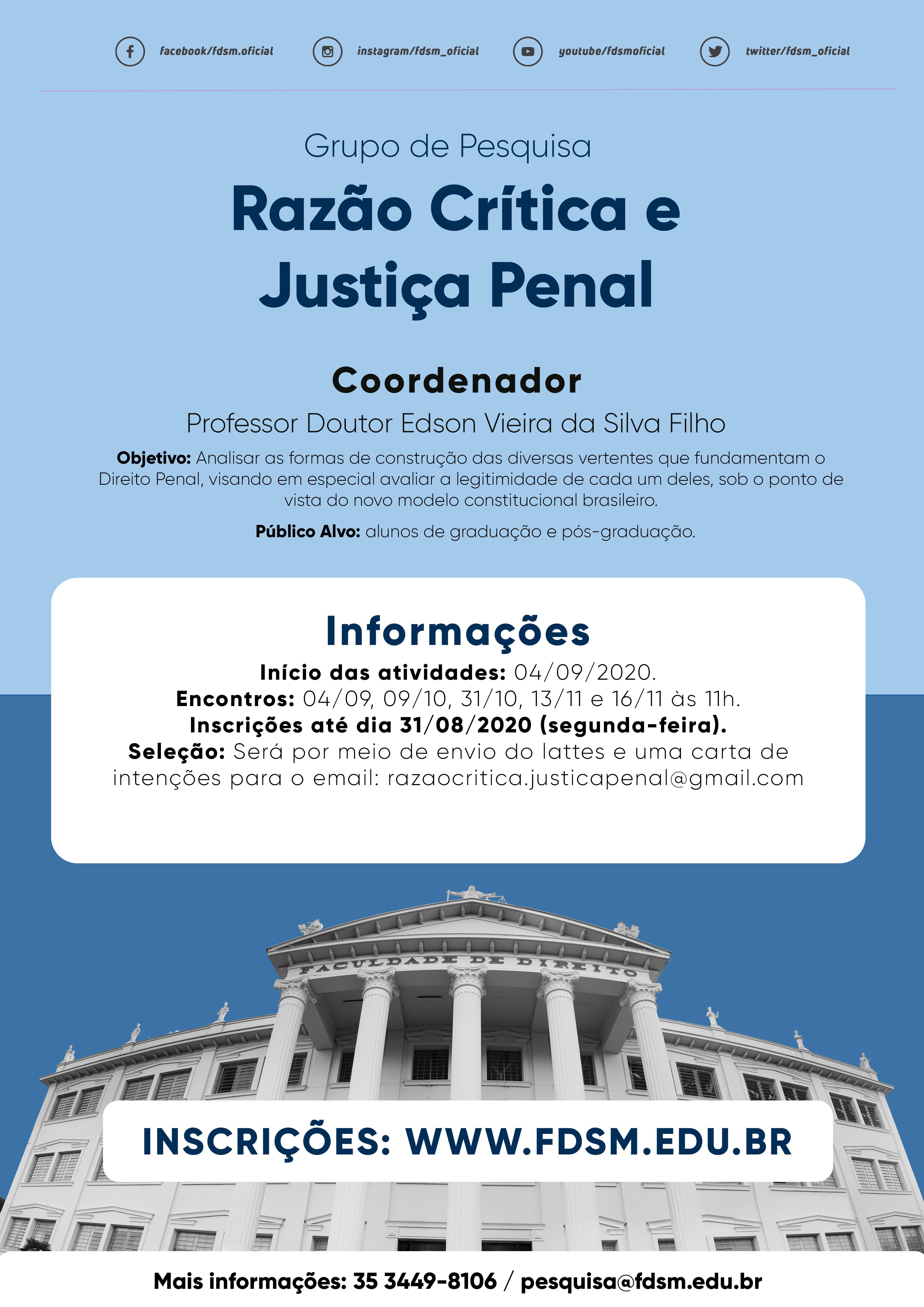Noticia 6522 - GRUPO DE PESQUISA RAZÃO CRÍTICA E JUSTIÇA PENAL