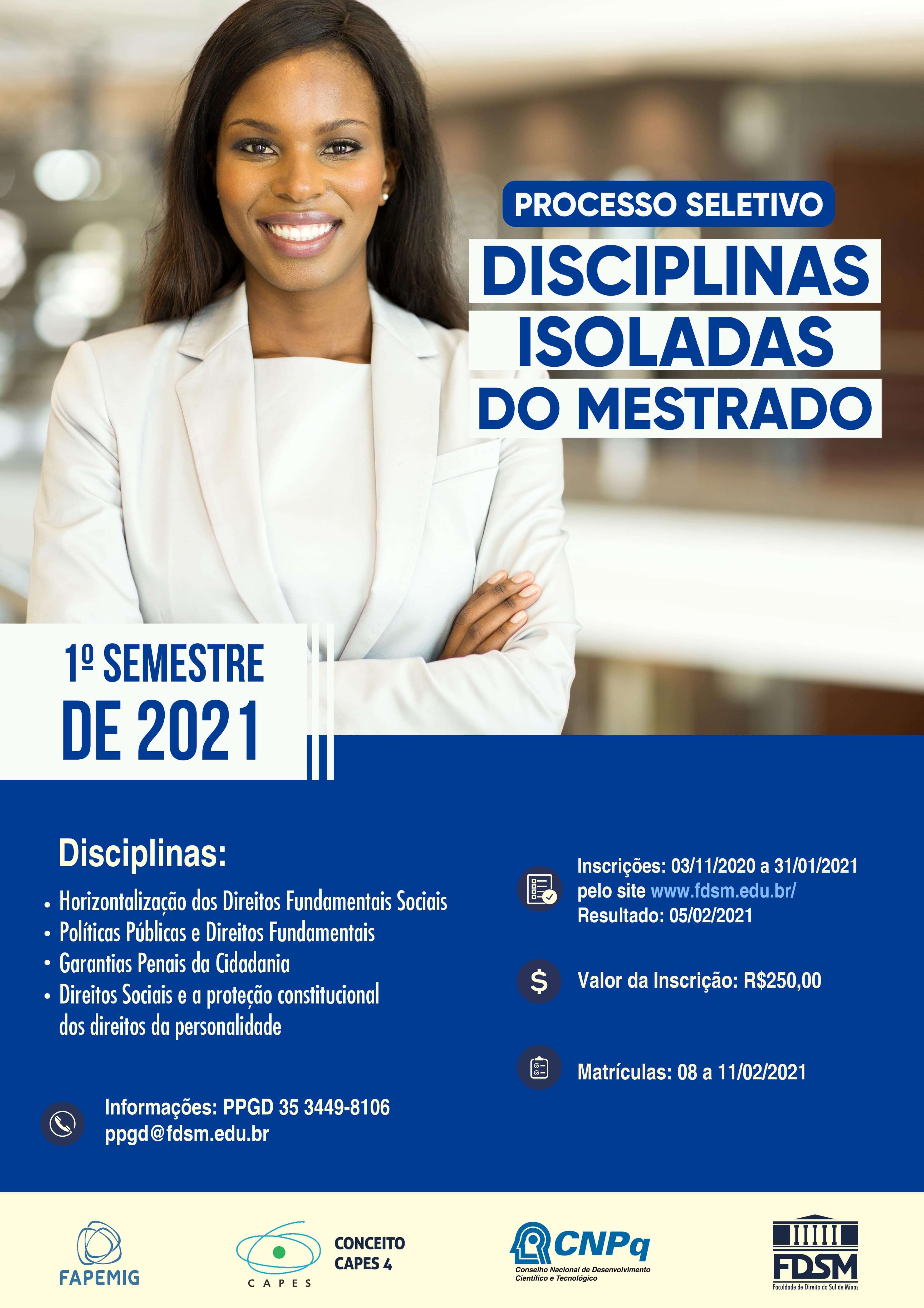 Noticia 6572 - PROCESSO SELETIVO PARA DISCIPLINAS ISOLADAS DO MESTRADO - 1º SEMESTRE DE 2021