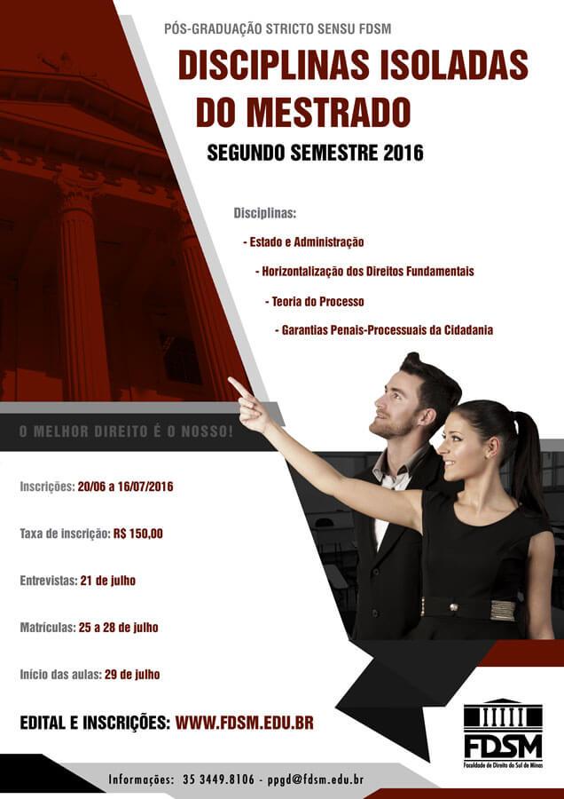 Noticia 2490 - PROCESSO SELETIVO: DISCIPLINAS ISOLADAS DO MESTRADO