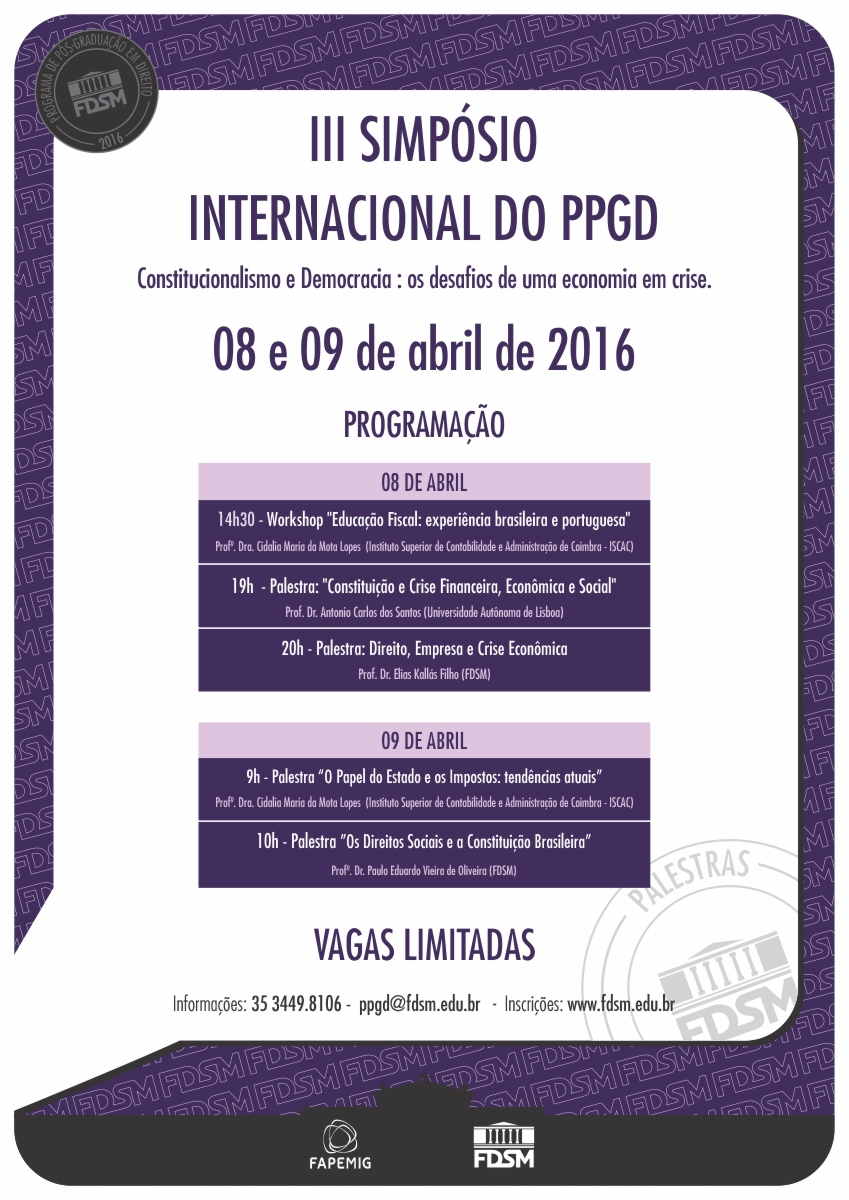 PALESTRAS DO III SIMPÓSIO INTERNACIONAL DO PPGD