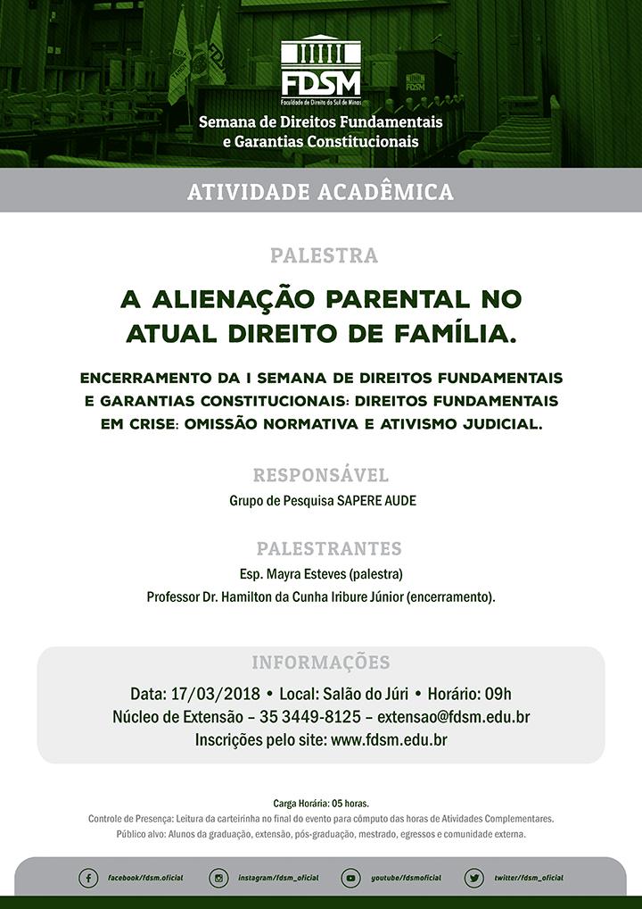 """Palestra """"A Alienação Parental no Atual Direito de Família"""""""