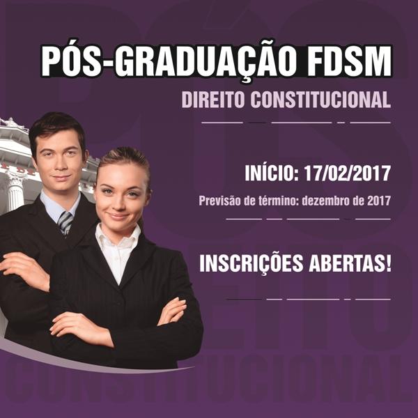 Noticia 3201 - FDSM ABRE INSCRIÇÕES PARA PÓS-GRADUAÇÃO EM DIREITO CONSTITUCIONAL