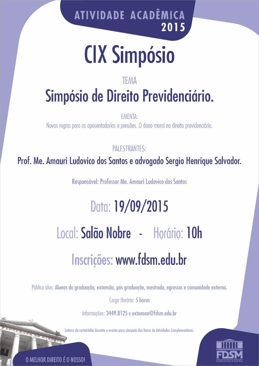 CIX Simpósio 'Simpósio de Direito Previdenciário