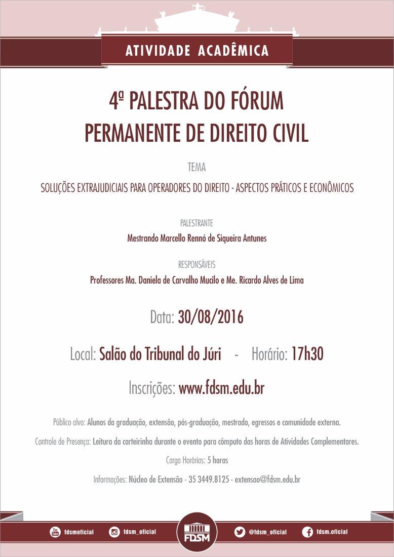 4ª Palestra do Fórum Permanente de Direito Civil
