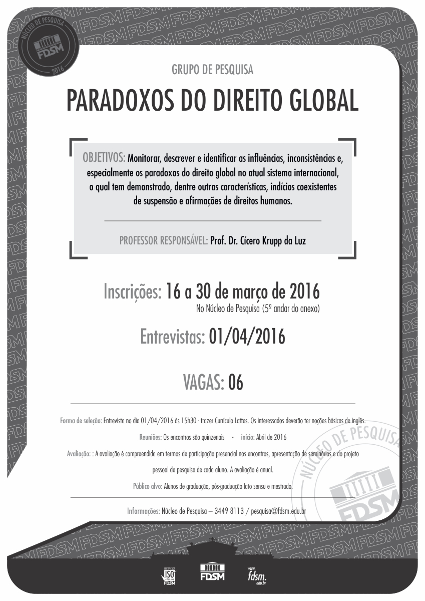 Noticia 2235 - GRUPO DE PESQUISA PARADOXOS DO DIREITO GLOBAL