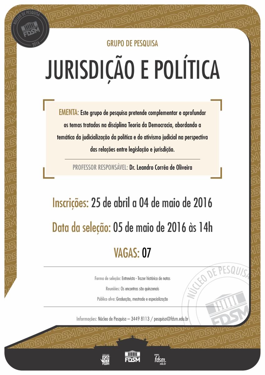 Noticia 2344 - GRUPO DE PESQUISA JURISDIÇÃO E POLÍTICA