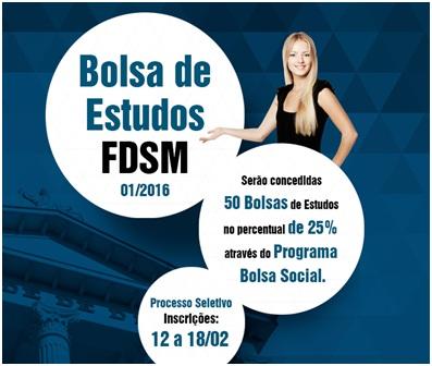 Noticia 2120 - PROGRAMA BOLSA SOCIAL DA FDSM IRÁ BENEFICIAR 50 ALUNOS DA GRADUAÇÃO