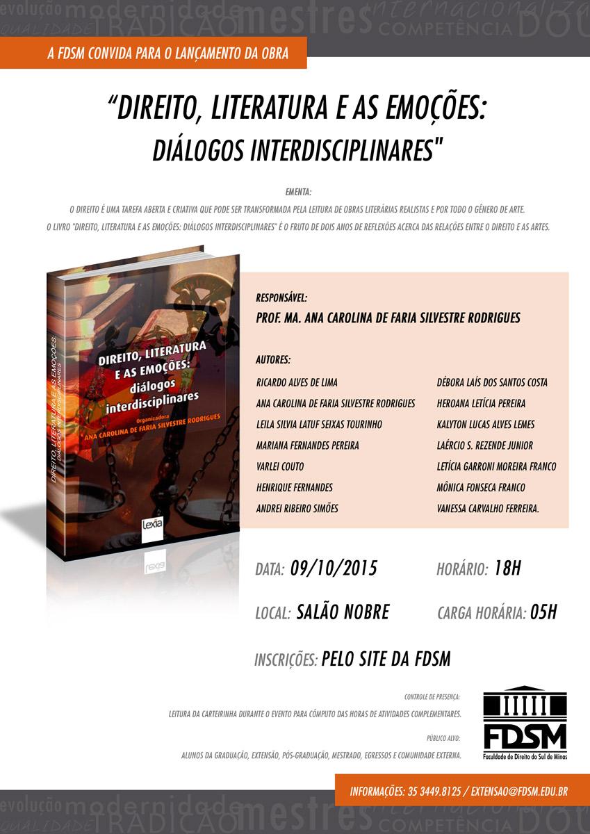 Lançamento do livro 'Direito, literatura e as emoções: diálogos interdisciplinares'