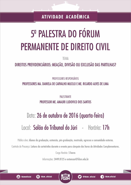 5ª Palestra do Fórum Permanente de Direito Civil