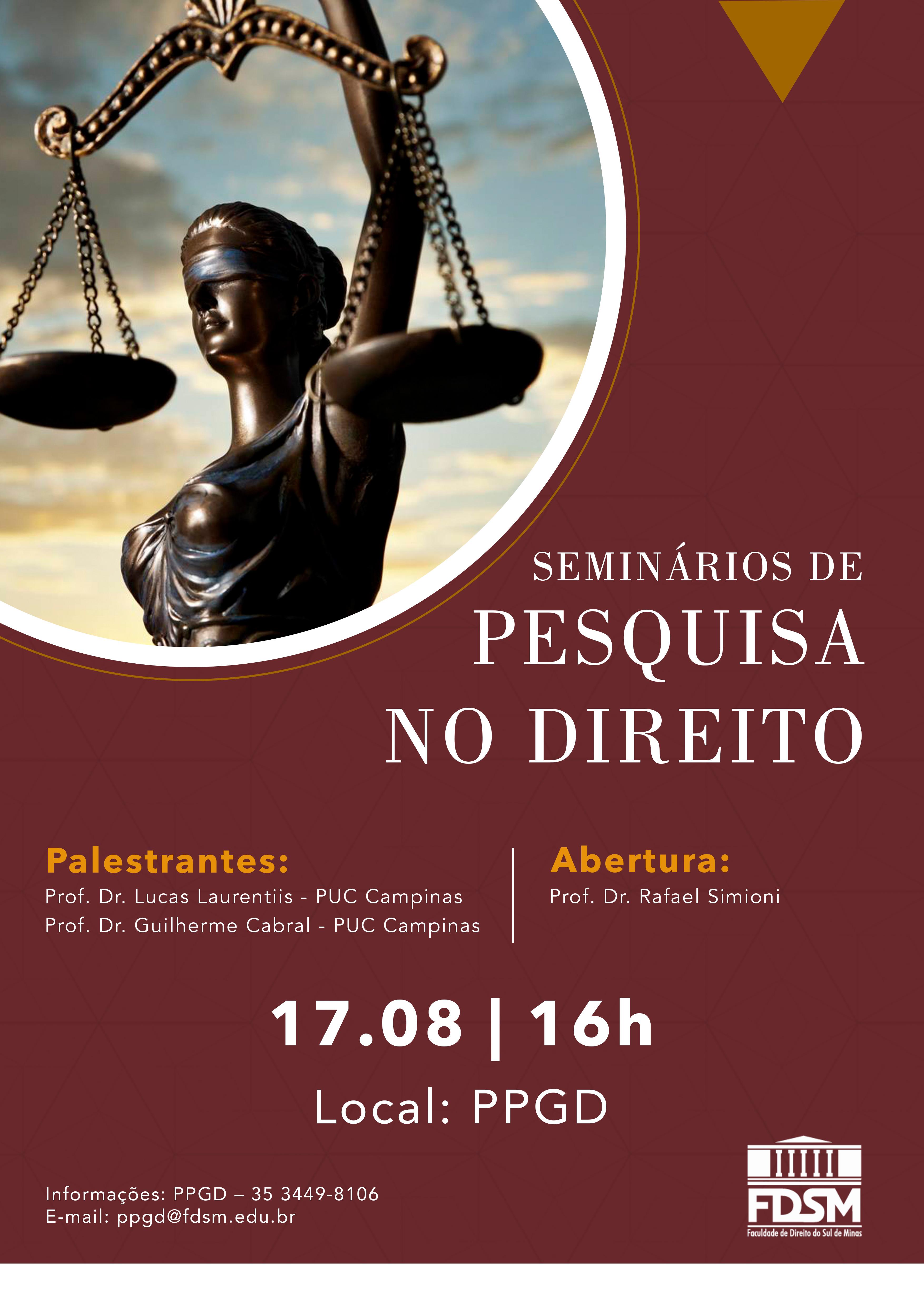 Palestra: Seminários de Pesquisa no Direito