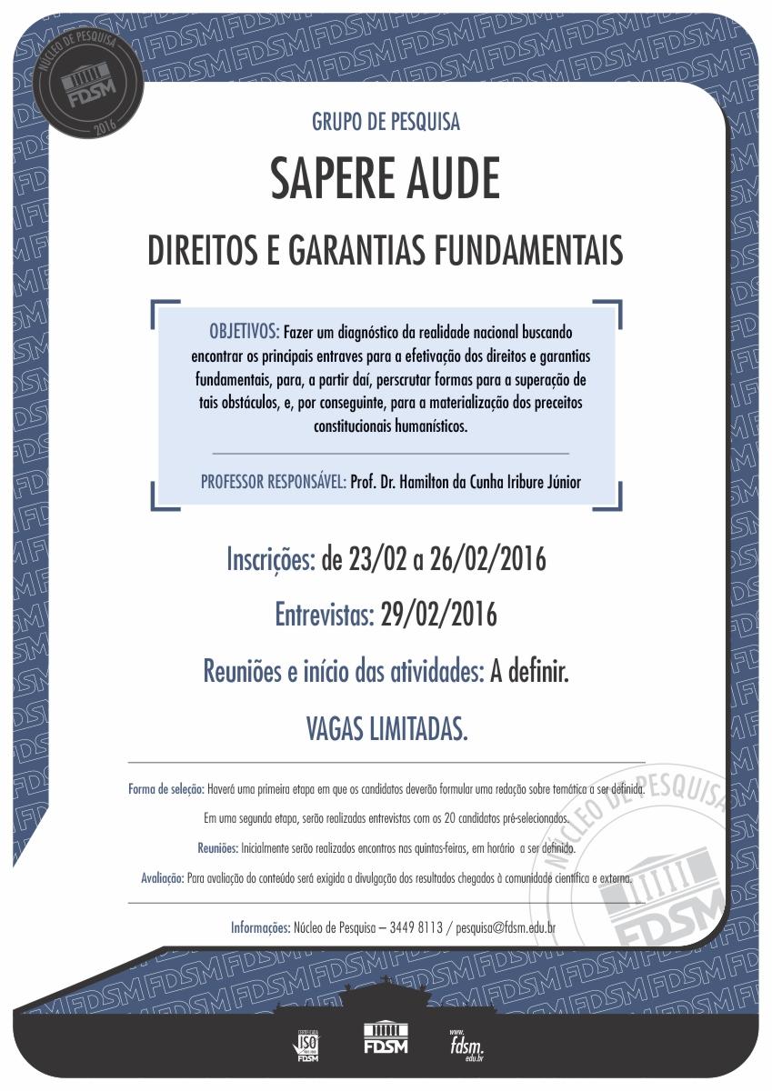 Noticia 2166 - GRUPO DE PESQUISA SAPERE AUDE