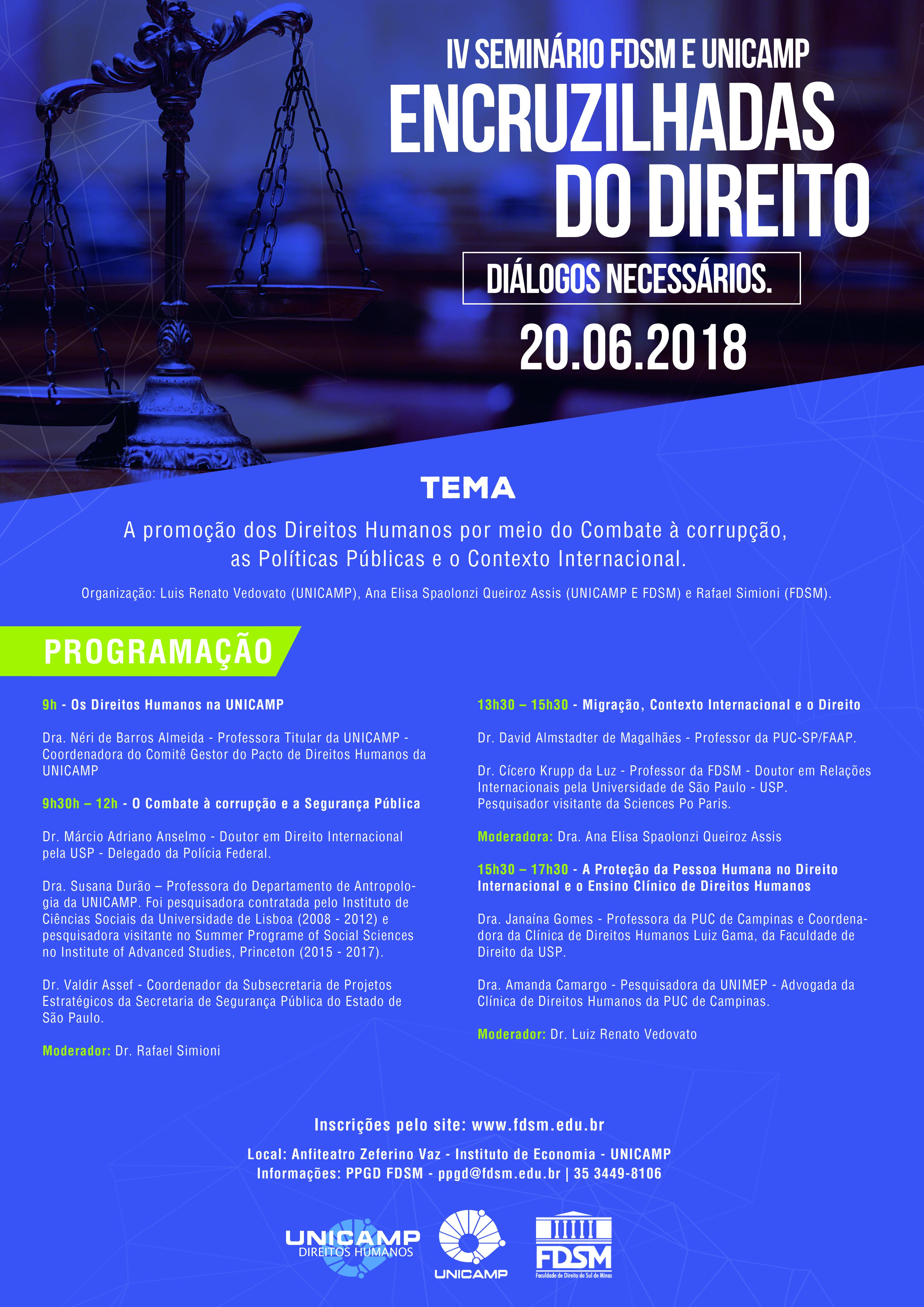 IV SEMINÁRIO ENCRUZILHADAS DO DIREITO - DIÁLOGOS NECESSÁRIOS