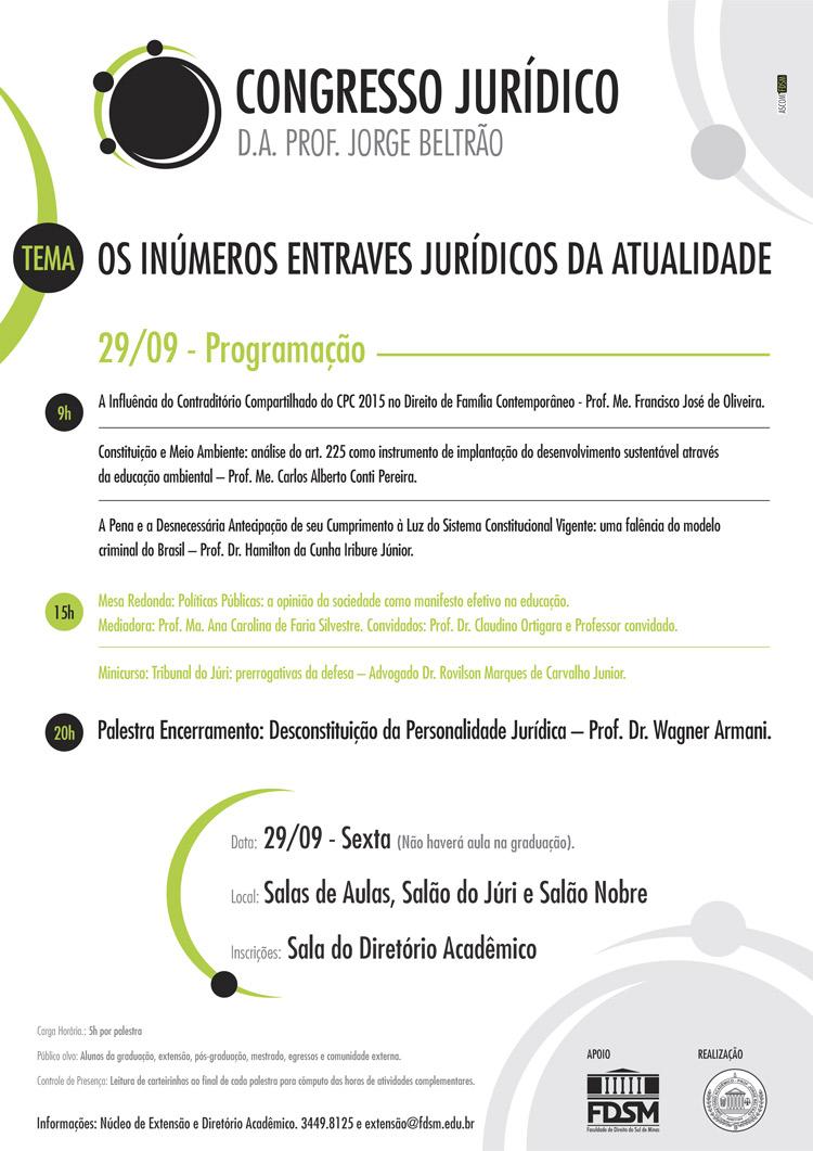 Noticia 3882 - CONGRESSO JURÍDICO DO DIRETÓRIO ACADÊMICO PROFESSOR JORGE BELTRÃO