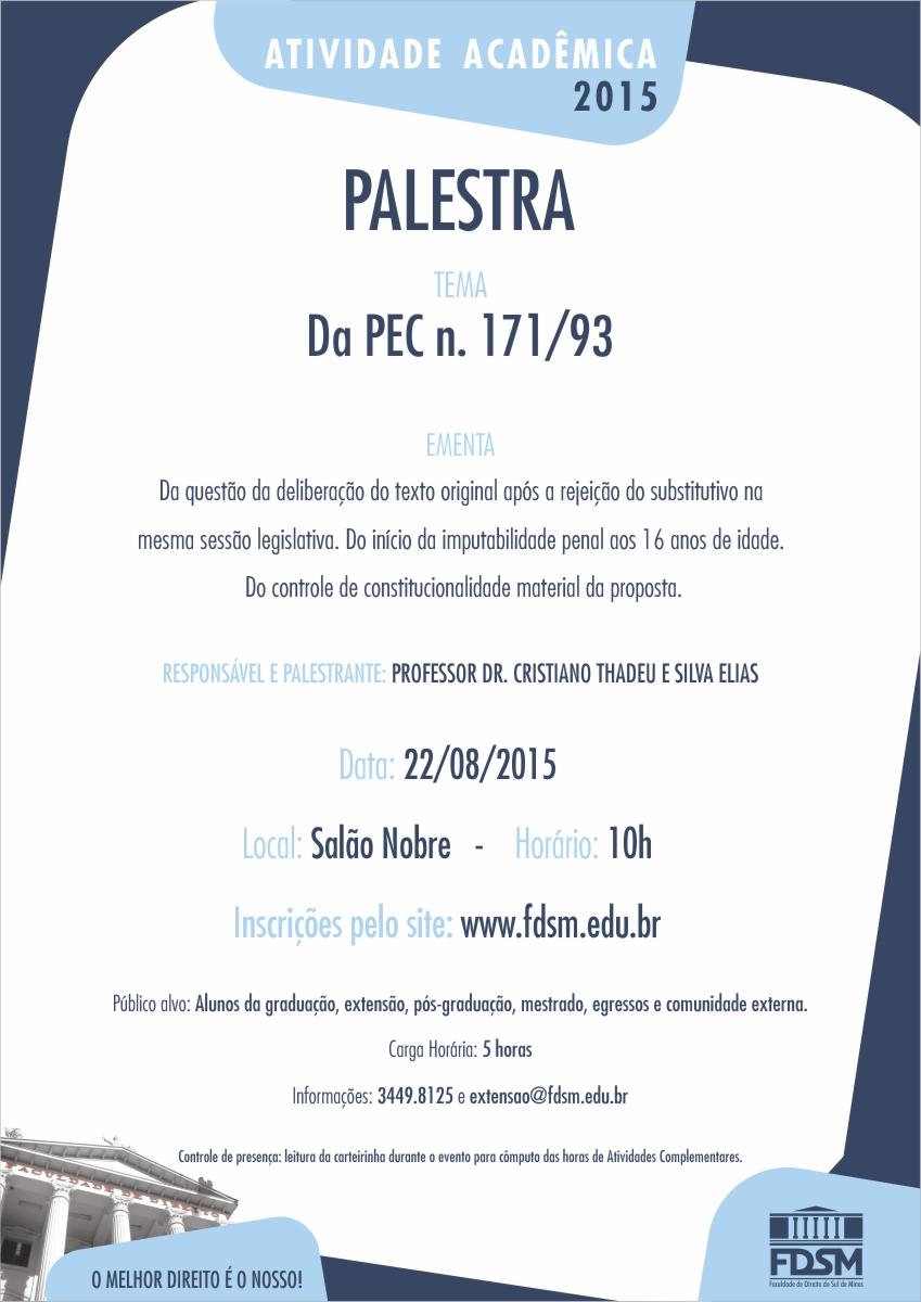 Palestra: Da PEC n. 171/93