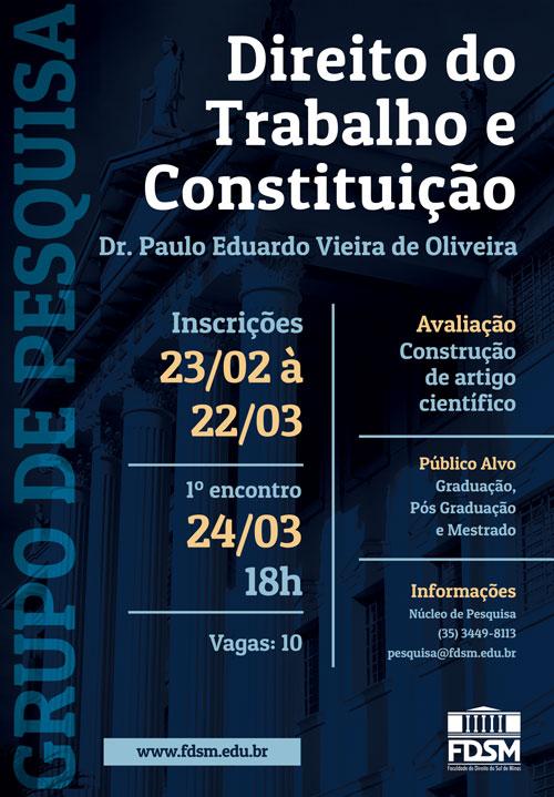 Noticia 3285 - GRUPO DE PESQUISA: DIREITO DO TRABALHO E CONSTITUIÇÃO