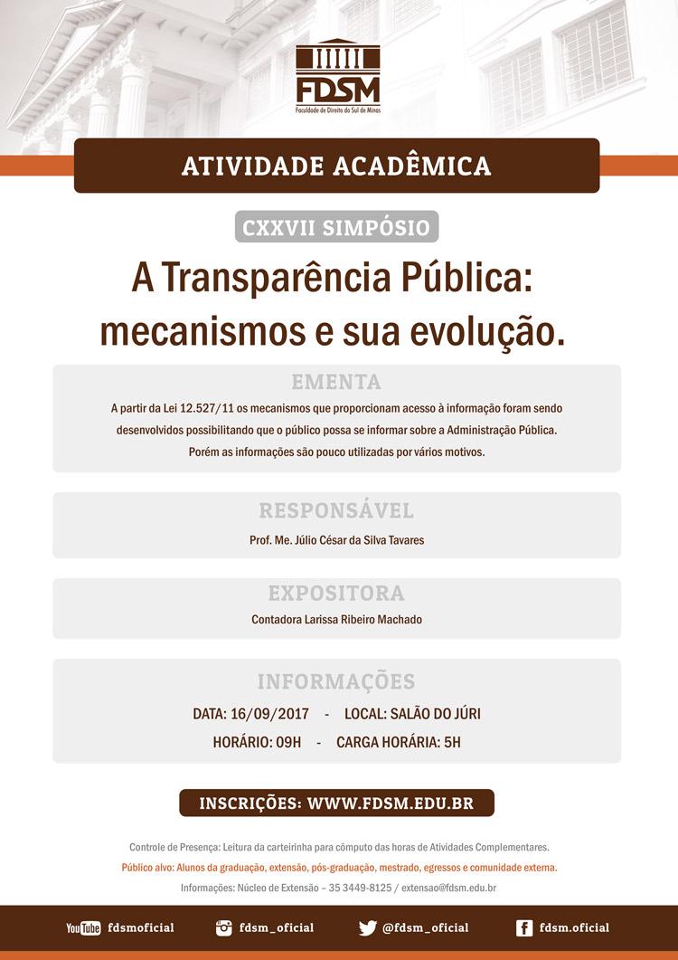 """Cód 169:  CXXVII Simpósio """"A Transparência Pública: mecanismos e sua..."""