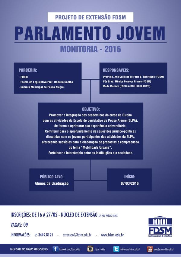 Noticia 2140 - PROJETO DE EXTENSÃO: MONITORIA DO PARLAMENTO JOVEM 2016.